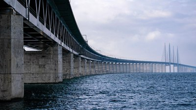 The Öresund Bridge is 20, and gets a sub-sea equivalent